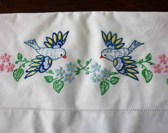 Embroidered Cotton Pillowcase Vintage Bluebirds and Flowers Wabasso