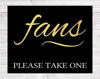 Wedding Fans Sign   Simple Wedding Sign   Summer Wedding   Hand Fans   Gold Black White   *DIGITAL FILE*