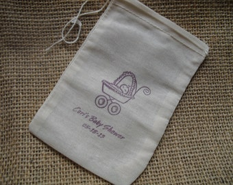 Personalized Baby Shower Baby Carriage Favor Bags Gift Bags or Candy Bags 4x6 - Set of 10 - Item 4M1524