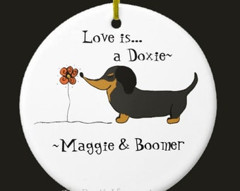 Doxie ornament ceramic personalized dog lover dachshund ornament custom personalized wreath supplies garden decor hanging dog lover gift