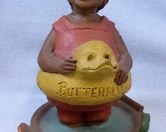 Vintage Cairn Studio Tom Clark Gnome Woodspirit  Butterfly Re-Signed