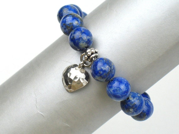 Blue Bead Bracelet with Lapis Lazuli Stones, White Jade, and Hammered Silver Bead and Heart Charm / Best Friend Gift / Wife Christmas Gift