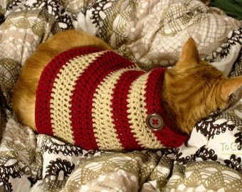 Crochet Cat Sweater- Clothes for Cats- Cat Clothing- Cat Shirt