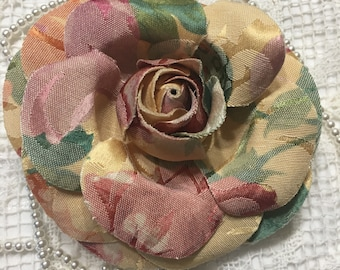 """1 Tapestry fabric flowers  4.5""""  for, pins, barrette, headband....."""