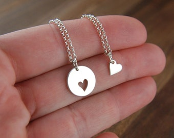 Mother and daughter sterling silver heart necklaces, silver heart charm, mothers love, piece of my heart, love necklace, mother's day