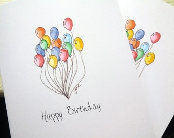 Balloon Art Birthday Cards, Watercolor Art Notecards, Set of 8