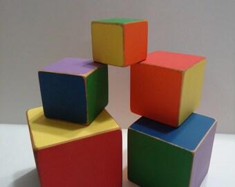 Rainbow wooden stacking blocks, balance block tower of 5, rainbow stacking toy, wooden block tower, wooden stacking blocks, balance tower