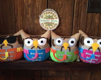 The Beatles owls-The Fab Four- Inspired by Sgt. Pepper- set of 4 owls