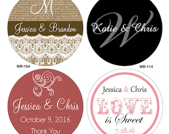 324 - .75 inch Custom Kisses Glossy Wedding Stickers round - hundreds of designs to choose from - change designs to any color or wording
