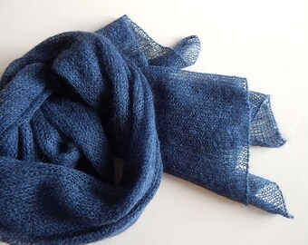 Knitted kid-mohair scarf blue lace scarf, dark-blue scarf lace women's scarf sapphire mohair scarf, mohair blue wrap, gift for her