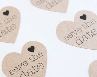 Save the Date Kraft Heart Stickers Envelope Seals Engagement Party ideas