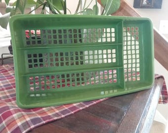 Vintage 1970's Avocado Green Ventilated 4 Compartment Silverware Drawer Holder