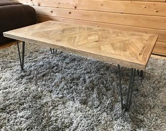 Oak Cross Weave Coffee Table - Vintage Style - Hairpin Legs