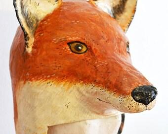 Paper mache fox head, hat