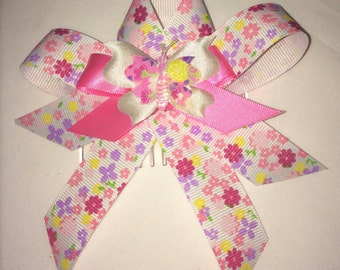 Pink & Multi coloured Hair Bow with tails and butterfly