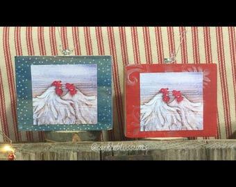 Mini Art, SISTERS, Chicken art,  ready to ship ,Art Block, Ornament, Art Print