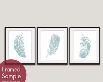 Feathers (Series B3) Set of 3 - Art Prints (Featured in Slate Blue on White) Nature Woodland Inspired