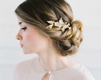 Gold bridal comb, Brass Leaves Hair Piece, Botanical Bridal Headpiece, Petitie Wedding Hair Piece, Gold Bridal Headpiece - YOLANDE