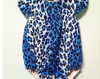 baby romper- romper- Leopard romper- Baby Bubble Romper- Ruffle Romper - Romper - blue romper- toddler romper- girl birthday outfitLeopard