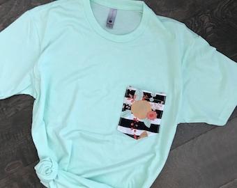 Women's Tshirt, Pocket Tshirt, Mint, Floral, & Coral Floral