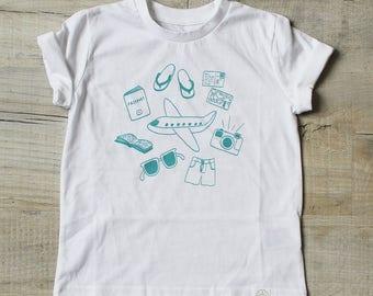 Fly Away Tee - 100% Organic Cotton White Kids Travel T-shirt