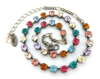 Swarovski Crystal Necklace Made with 6mm CRYSTALLIZED™ - Swarovski Elements, Multi Colored Rainbow, Dainty, SELECT-A-FINISH, Free Shipping