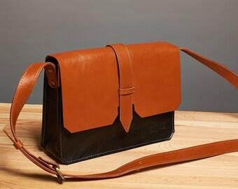 Leather crossbody bag / Orange black leather messenger bag / Leather shoulder bag / leather bag