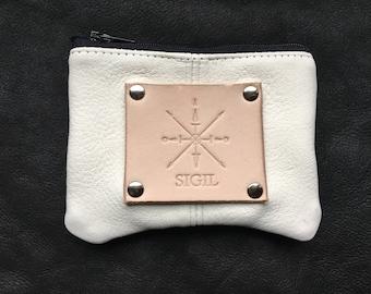Deer Hide ID/Card/Cash Purse:  Bone White w/Nickel Rivets and Veg Tan Hand-Pressed Label