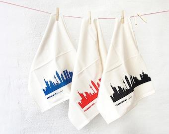 FRANKFURT Flour Sack Towel, Set of 3, Dish Towel, housewarming gift, Green Gift, Kitchen Decor, bridal wedding gift, Bohemian Hostess Gift