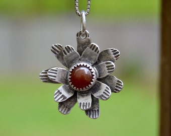 Garden Flower . Sterling Silver. Carnelian Necklace. Handmade . Fine Silver . Rustic . Earthy . Boho .