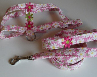 Custom Dog Harnesses and Leashes - Dog Leash - Daisy - Dog Accessories - Dog Harness - Custom Dog Harness - Small Dog Harness and Leash