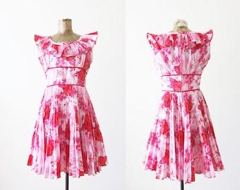 60s dress / hawaiian dress / tropical dress / tiki dress / pink 1960s dress / floral sundress / island dress / ruffle dress / 60s mini dress