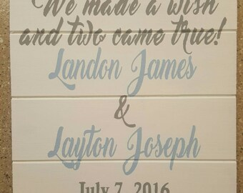 Twin Birth Announcement Wood Sign