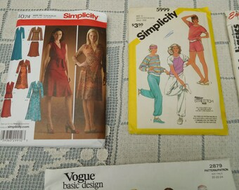 """Vintage Lot #5 Sewing Patterns Women's Dresses and Coordinates 70's to 90's -Various Styles -Bust -47"""""""