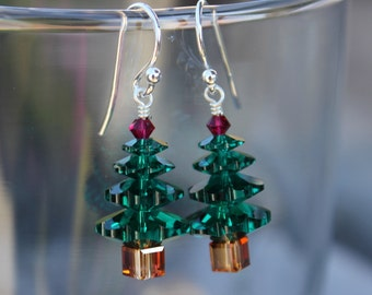 Emerald green crystal Christmas tree earrings - sterling silver with ruby red accent - Swarovski crystal - free shipping USA