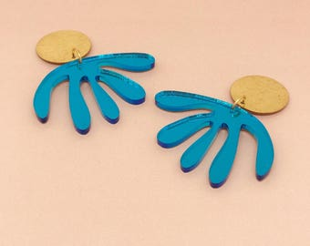Blue Mirror & Brass Drop earrings