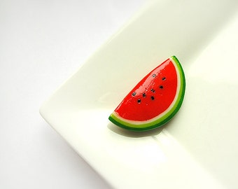 Watermelon Brooch, summer bright funny jewelry, fruit and berry jewelry, watermelon jewelry, red and green, pin-up style fashion jewelry