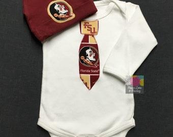 FSU Seminoles Necktie Bodysuit and Matching Hat Made from Florida State University Fabric, FSU Baby, FSU Baby Boy, Noles Baby