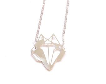 Fox Necklace Geometric, fox pendant, origami fox, Geometric jewelry, animals jewelry silver fox, bohemian jewelry, boho necklace gift