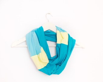 Aquamarine Scarf Blue Infinity Scarf Blue Yellow Scarf Blue Loop Scarf Cotton Scarf Jersey Scarf Multicolor Scarf Casual Scarf Tube scarf