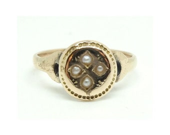 Antique 9ct Gold Ring | Victorian Ring | Star Ring | Pearl Ring | 9ct Rose Gold Ring | Antique Pearl Ring | Gold Ring