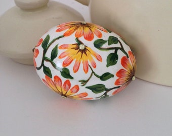 Hand Painted Chicken Egg with Yellow Orange Daisies, Green Leaves on Natural Shell