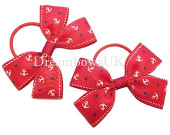 Red anchor design hair bows, Thin hair bobbles, Anchor hair ribbon, girls hair accessories,Little girls hair bows and accessories, hair ties