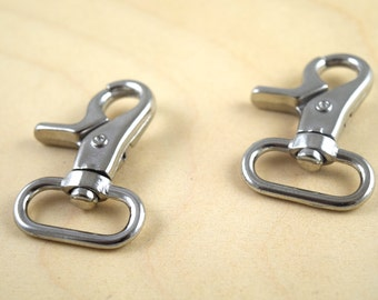 "2 Heavy Duty 1"" Nickel Plated Lobster Swivel Clasp / Bocklebee Clasp/ Oversized Lobster Clasps"