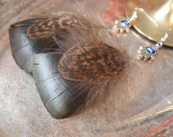 Long Feather Earrings | Boho feather Earrings | Hamsa Hand Earrings | Brown Feather Dangles | Earthy Feathers | Eco Friendly Earrings