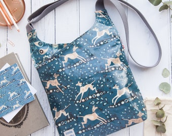 Whippet Oilcloth Cross-Body Bag / Messenger Bag / Vegan Bags / Susie Faulks / made in England / Whippet/ Greyhound/ Hounds / dog/ sighthound