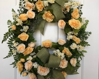 Spring wreath summer wreath yellow floral apricot floral grapevine