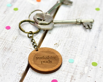 Yorkshire Pudding Keyring | Wooden Keychain | Father's Day | Gift for Dad
