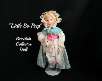 porcelain doll ,  collector doll , limited edition doll - Little Bo Peep doll - story book doll -  Edwin M. Knowles doll, 1980's doll, # 6