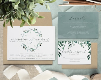 Leafy Wreath Wedding Invitation Suite